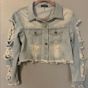Fashion nova distressed cropped jacket